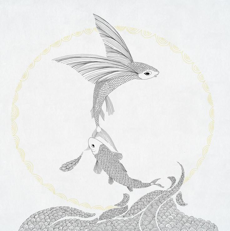 flying fish illustration