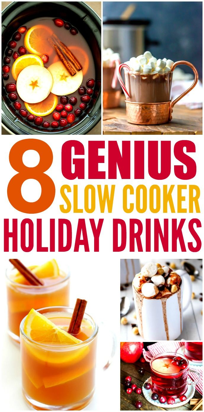 These 8 Genius Slow Cooker Holiday Drinks are THE BEST! I'm so happy I found these GREAT recipe! Now I have some tasty drinks for the Christmas and New Years! Definitely pinning!