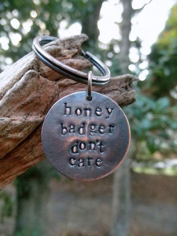 Honey Badger Key Chain Key Ring Handmade to Order by hoptimystic, $12.00