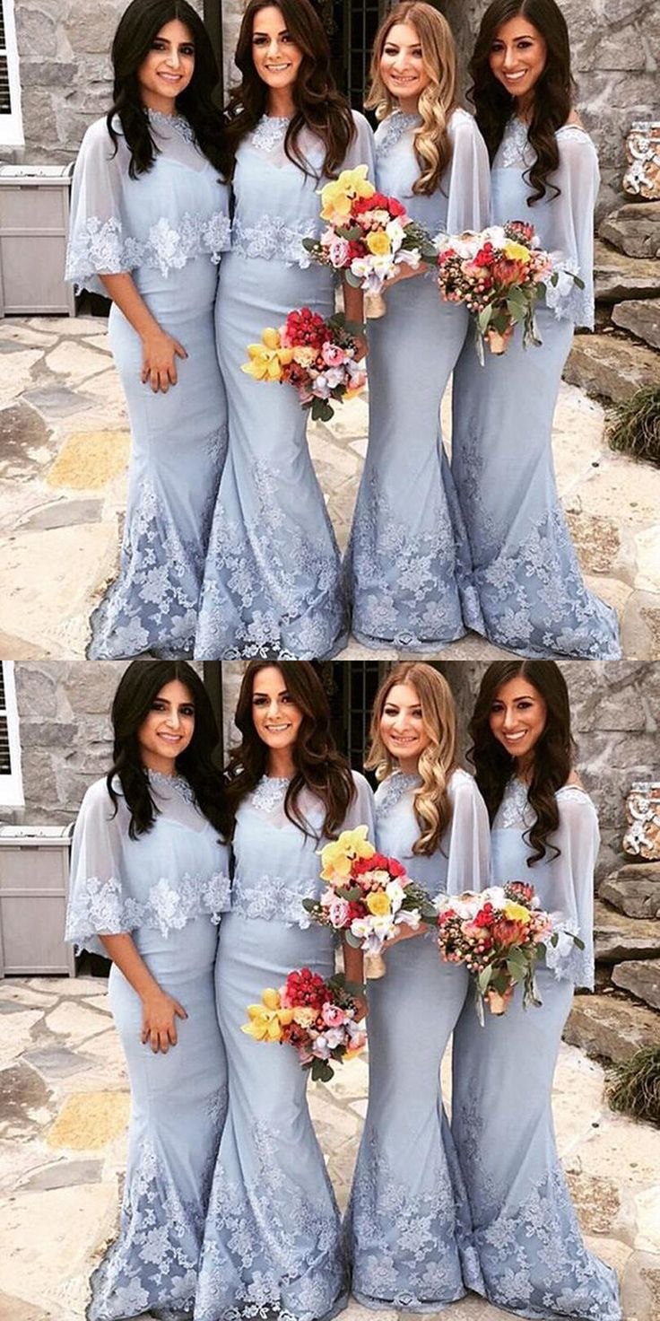Mermaid V Neck bodycon bridesmaid dresses, Sweep Train Lavender wedding party Dress, prom dresses with Shawl Lace