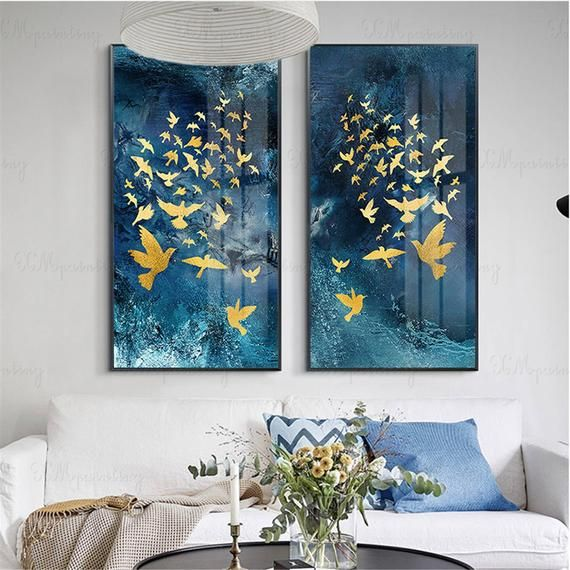 Gold leaf abstract painting canvas wall art pictures for living room home hallway wall decor original acrylic gold birds blue texture decor