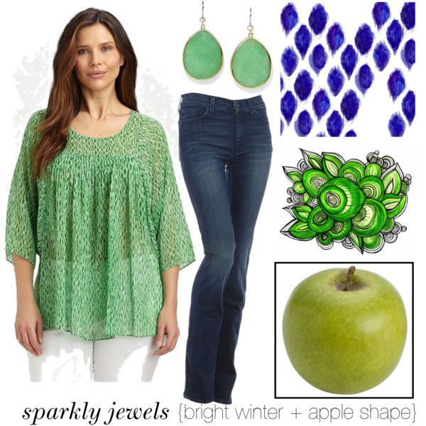 """apple shape + bright winter color"" by rachaelpainter on Polyvore"