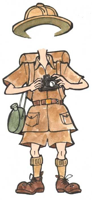Safari/Australian outback guide get up: khaki shorts, khaki shirt, hiking boots, camera, canteen ... there's lots of accessories you can use!