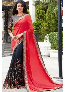 gris et rouge foncé couleur georgette & sari de soie, -  171,00 €,  #Sariindienmariage  #Tuniqueindiennefemme  #Tenueindienne  #Sariindienpascher  #Shopkund