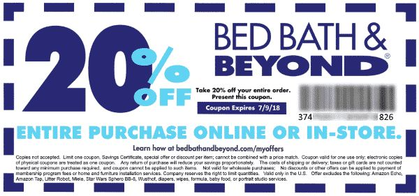 Bed Bath and Beyond 20% Off Coupon