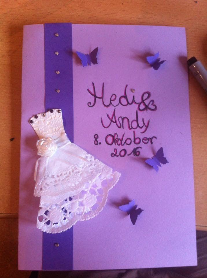 Glückwunschkarte zur Hochzeit ganz leicht selbst gemacht. Hochzeitskleid ist aus Tortenspitzen😉