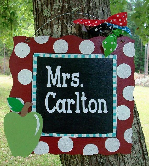 Charming Wood Teacher Door Hanger by craftigirlcreations on Etsy, $25.00