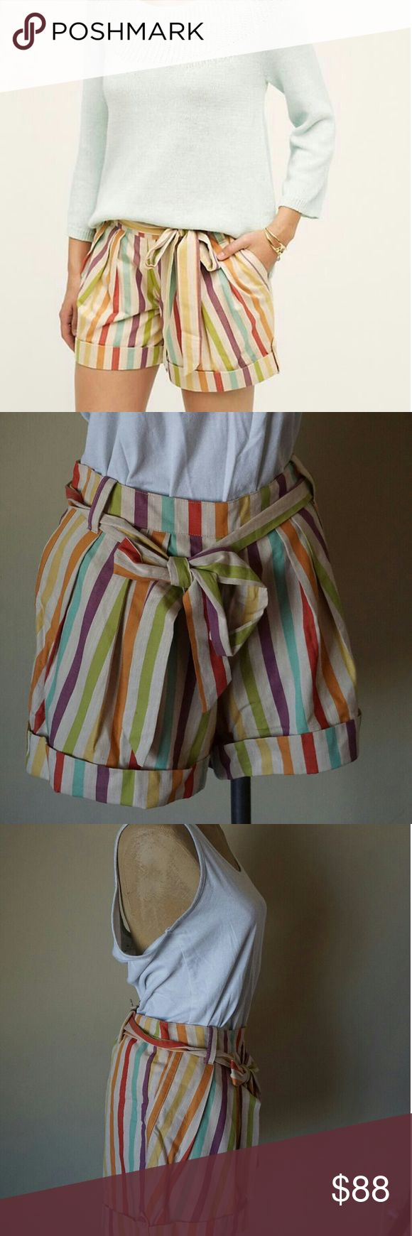 Anthropologie Eva Franco Sol Stripe Shorts NWT I am obsessed with these shorts! LOVE the vintage inspired candy stripe muted colors, the tie belt, the cuffed bottoms and pockets. They're brand new and need to be enjoyed ASAP! Anthropologie Shorts