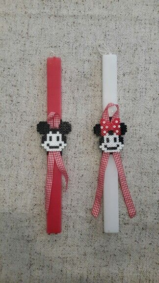 "Handmade easter candles by Glykeria. ""Mickey"" and ""Minnie"""