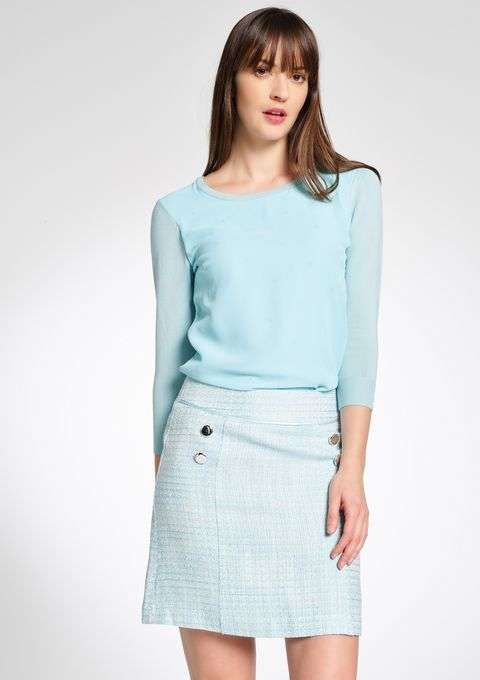 Tweekleurige tweed rok in 60's stijl - CANAL BLUE - 07001536_1567