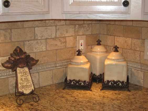 Travertine Tile Kitchen Backsplash And Un Polish Wooden Cabinet Also Brown  Granite Cunter Top With White Tile Kitchen Countertop And Granite And Tile  ...