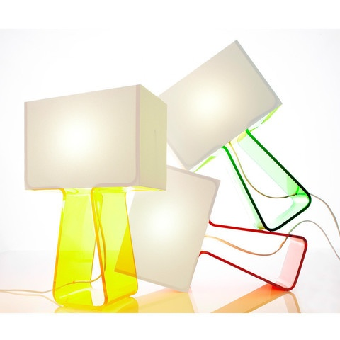 """Tube Top Table Lamp, yellow by Pablo Design. """"Does my rectangular head make me look shady? Made of mesh fabric, it's so light, it feels like it could just float away. Thank goodness for my slim, and colourful body that keeps me grounded! Its minimalist design completes my silhouette for a unique and playful look."""""""
