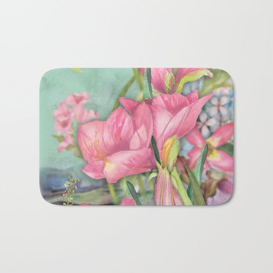 #flowers #floral #bathmat #bathroomdecor Available in different #giftideas products. Check more at society6.com/julianarw