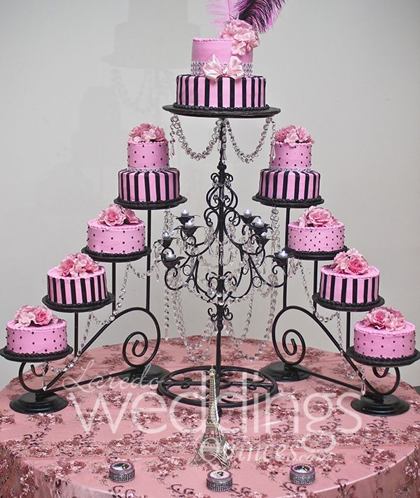 Paris Themed Wedding Reception Ideas: Elegant #cake #paris Theme #balck #pink! To See More Visit
