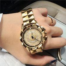 2017 New Women Watch Stainless Steel Watches Lady Shining Rotation Dress Watch Big Diamond Stone Wristwatch Lady Rose Gold Watch(China (Mainland))