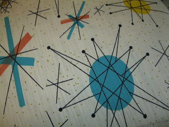 Textile Atomic Starburst Vtg Franciscan Salem North Star