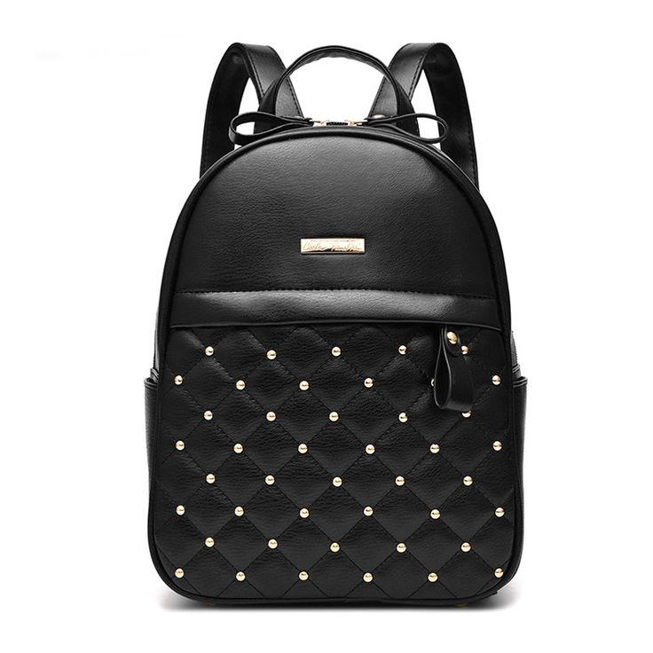 Women Leather Backpacks Diamond Lattice Rivet Backpacks For College School Shoulder Bag For Girls 2016 New Fashion Bolsos