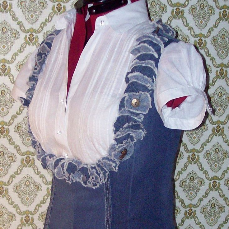 Upcycled Denim Vest with Ruffles