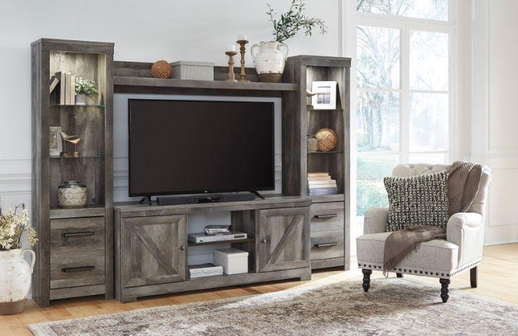Ashley Furniture W440-68-24-24-27 4 pc Wynnlow rustic gray finish wood tv entertainment center
