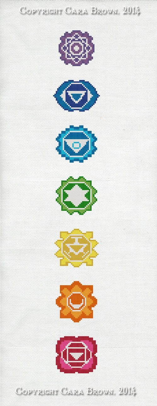 Chakras Cross Stitch Pattern Instant Download Easy needlepoint