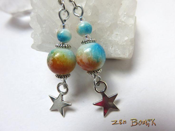 Boucles d'Oreilles Lampwork Dégradé bleu orange et Etoile avec crochet argent 925 : Boucles d'oreille par zenboutik