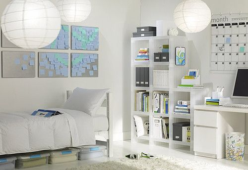 Classic white with hanging Japanese lanterns, beautiful. The colored sticky notes allow you to change up your choice of color and make new designs, and on a budget! # dream dorm ocm
