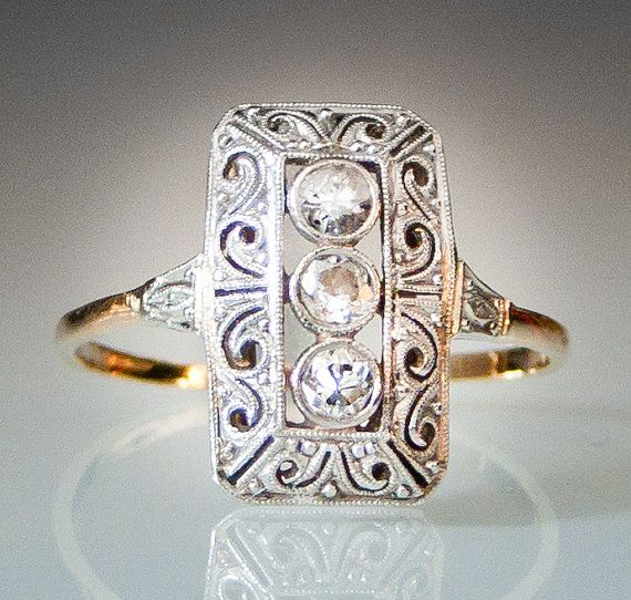 Antique Art Deco 14k Yellow and White Gold and Three