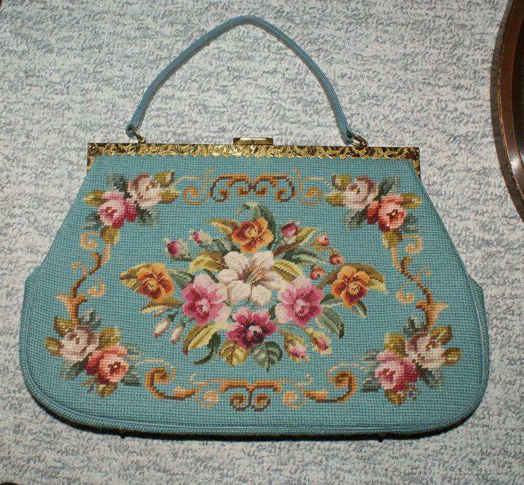 Antique Blue Floral Needlepoint Leather Tapestry Handbag