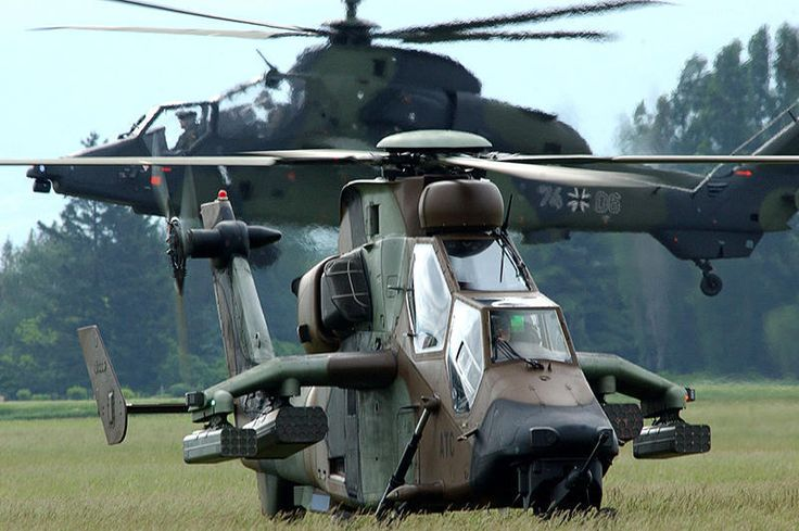 Pair of German Army Eurocopter EC665 Tigre scout/attack helicopters.