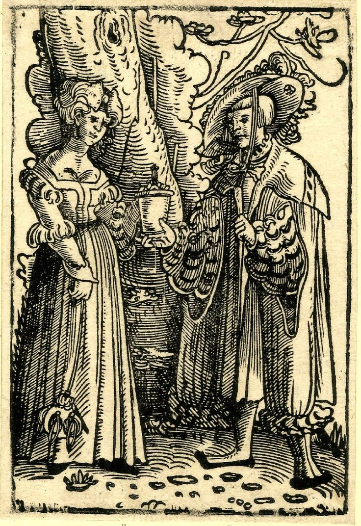 Artist: Master of the Hederlein. Description: Lovers standing underneath a tree; the male figure at right passing a covered jar to the woman at left. Date: 1520-1550