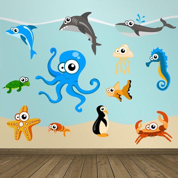 Adesivi per bambini: Acquario. Adesivi murali bambini a kit. #adesivimurali #decorazione #modelli #mosaico #pinguino #polpo #tartaruga #stella #granchio #cavallo #mare #medusa #StickersMurali
