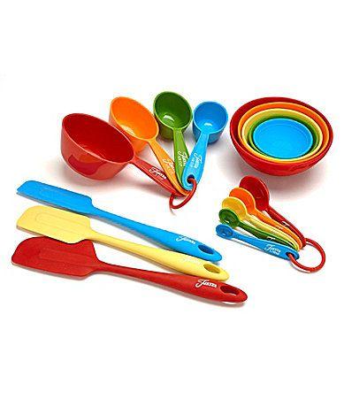 Fiesta 17Piece Bake Set #Dillards multi color silicone: Spatula Set/3, Measuring Spoons Set/5, Measuring Cups Set/4, Pinch Bowl Set/5 39.99