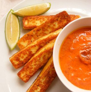Peppered Halloumi with Red-Pepper Tahina Dip