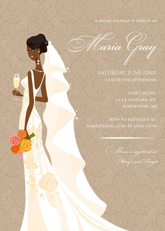 Elegant African American Bridal Shower by DiconshaDesigns on Etsy- is it possible to do on a black background with gold font?