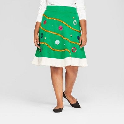 3377c5c70 Women's Plus Size Christmas Tinsel Tree Skirt - 33 Degrees (Juniors') Green  1X #Tinsel, #Tree, #Christmas