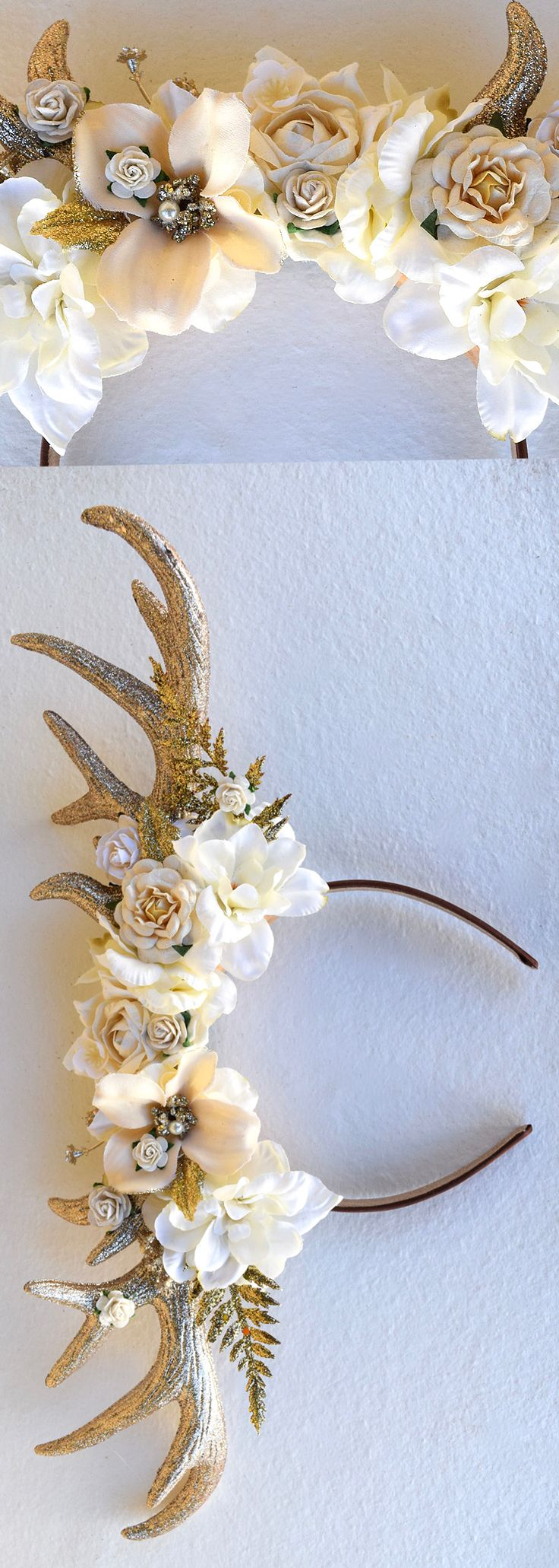 This gorgeous deer antler headband is sure to make your Christmas wedding photos STUNNING. Golden deer antlers are adorned with assorted blooms in nude, ivory and blush. Bits of gold and sparkle shimmer from this gorgeous antler halo. Great for the young bridesmaids. Winter wonderland wedding ideas. Christmas wedding outfits. #christmaswedding #winterwedding #bridesmaids #flowrgirls #winterparty #antlers #christmasparty #affiliatelink #party #fashion #ootd