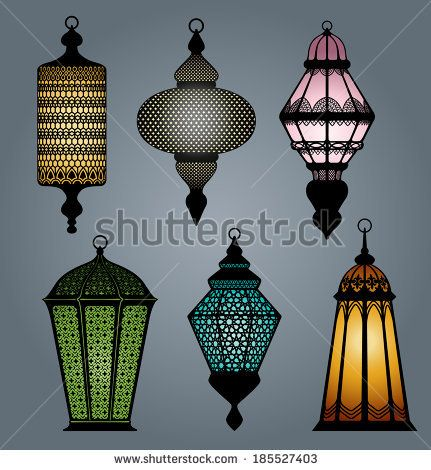 High quality vector set of arabic lantern part 2 by Roberto Chicano, via Shutterstock - vma.