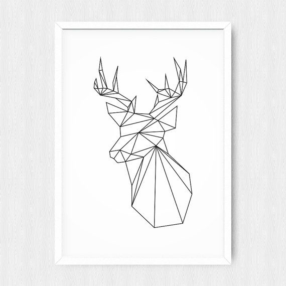 Geometric deer black deer geometric animal origami - Papier collant deco ...