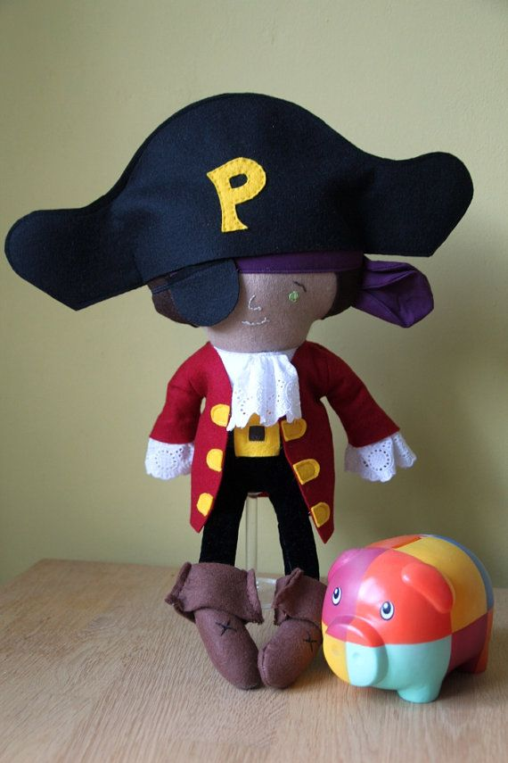 Rag Doll Pirate - handmade - Dolls and Daydreams - dressed up as TV's Piet Piraat  20 inches  $45