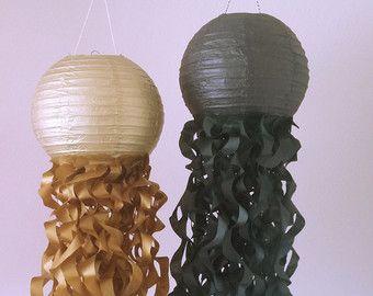 Black & Metallic Gold Jellyfish Paper Lanterns-New Years Party Decor- Graduation party-Nursery Decor-Set of 2