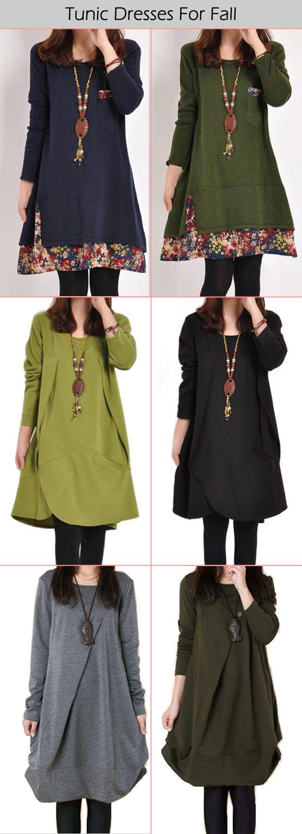 Long Sleeve Tunic Dresses For Fall & Whiter                                                                                                                                                                                 More