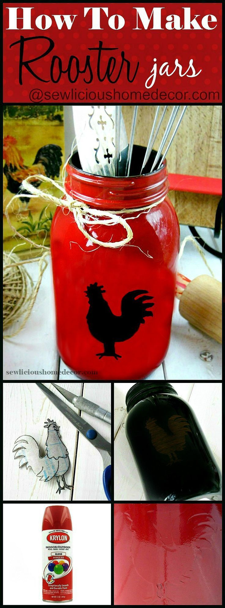 How To Make A Rooster Mason Jar. Easy tutorial and great gift Ideas at sewlicioushomedecor.com