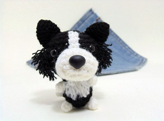 Amigurumi miniature Border Collie, crochet Border Collie. Cute Border Collie…