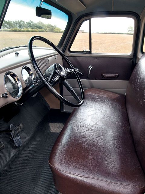 1954 Chevy Truck Interior View Brown Bench Seat - Who's got a bench in their truck or car?