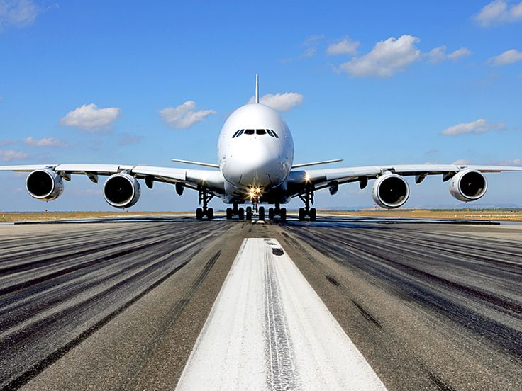 Awesome shot of the Airbus A380 heading down the runway