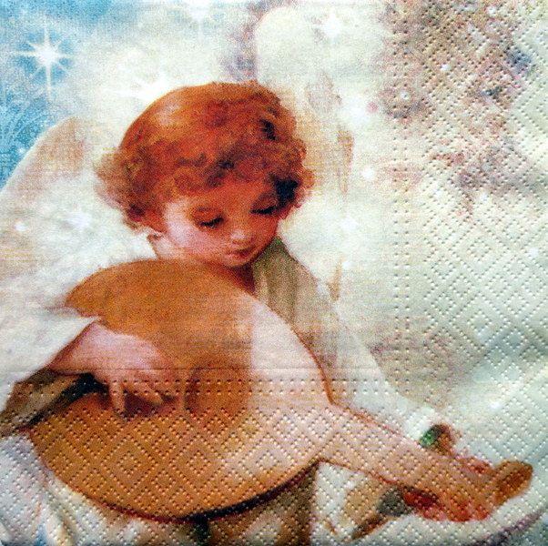 5 Servietten  - Engel mit Mandoline von DecoupageArt  auf DaWanda.com