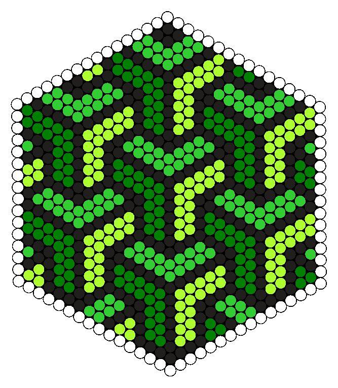 Weave Green Design Perler Bead Pattern
