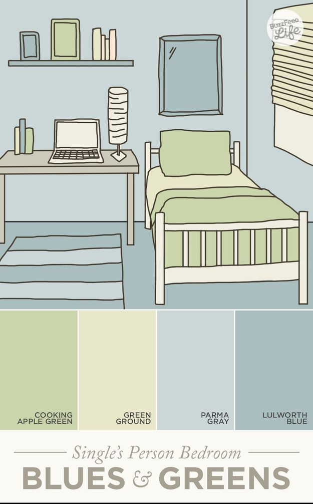 In a single person's bedroom, blues and greens provide calmness. | How Paint Colors Can Actually Change Your Life