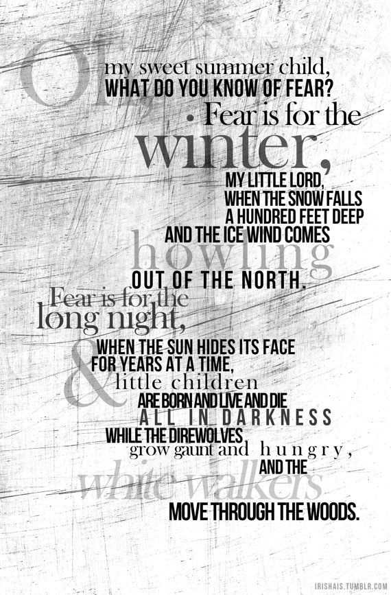 What Do You Know of Fear Game of Thrones Poster by painteddoll, $22.00