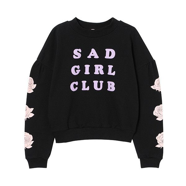 SAD GIRL CLUB SWEAT TOPS ❤ liked on Polyvore featuring tops, hoodies, sweatshirts, sweaters, shirts, shirt top and puffy shirt